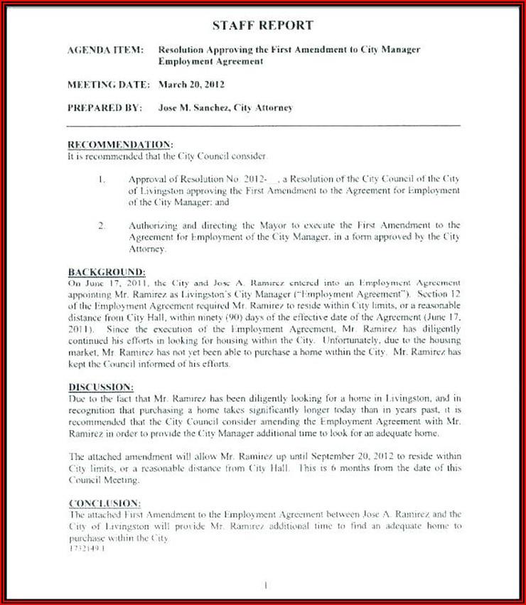Employment Contract Amendment Template
