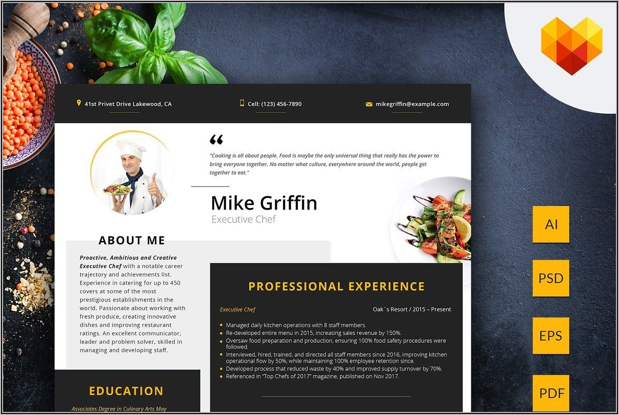 Executive Chef Resume Examples