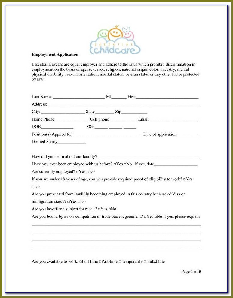 Family Day Care Enrolment Form Template