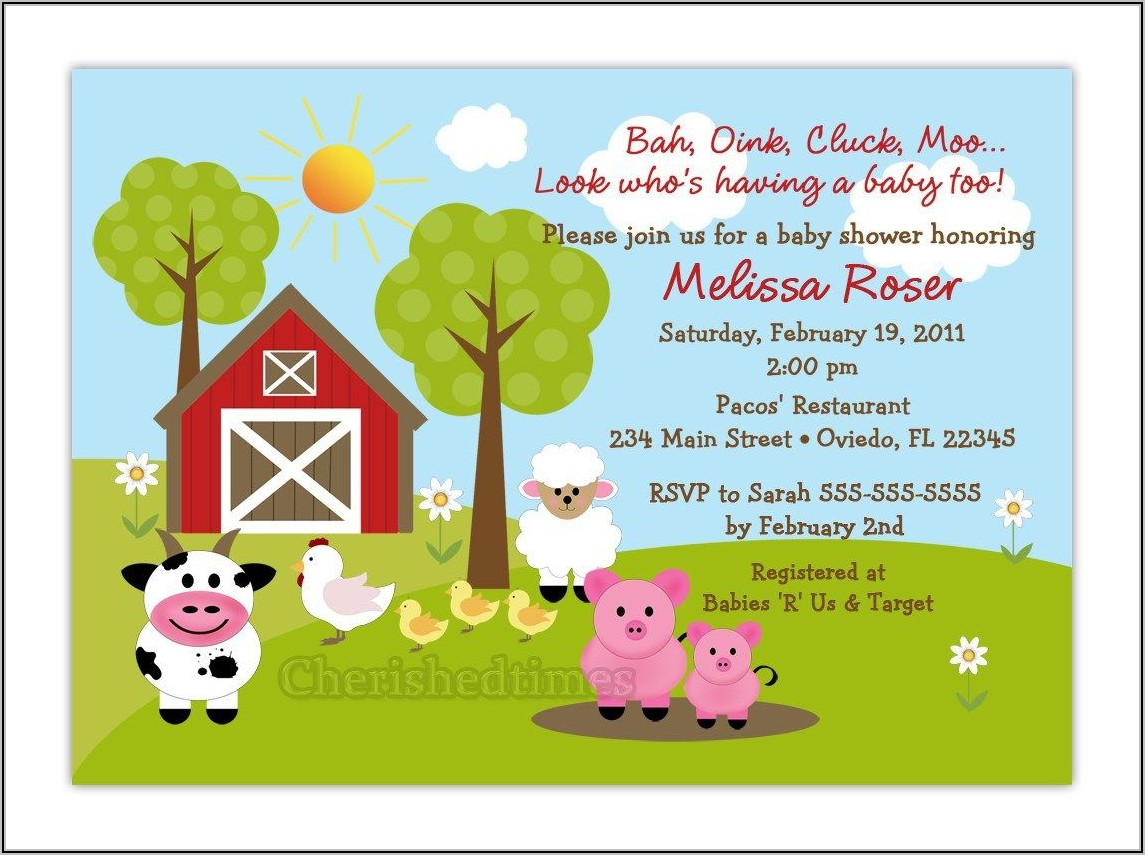 Farm Animal Baby Shower Invitation Template