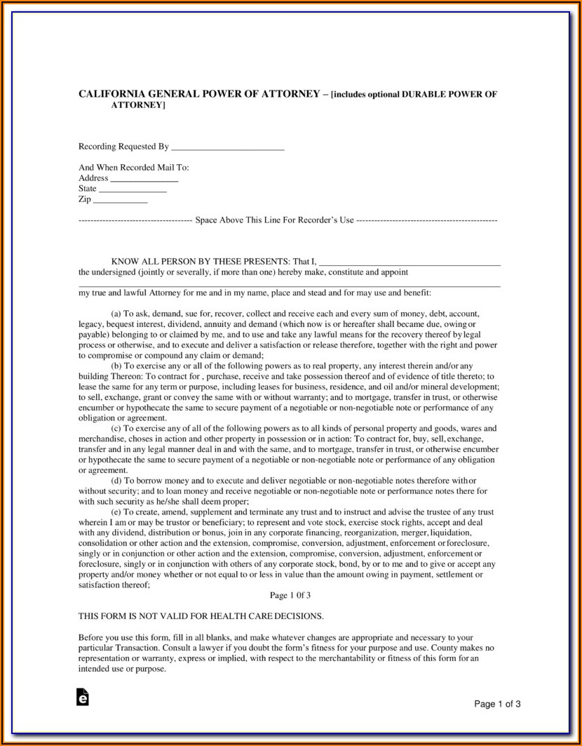 Fillable Durable Power Of Attorney Form California