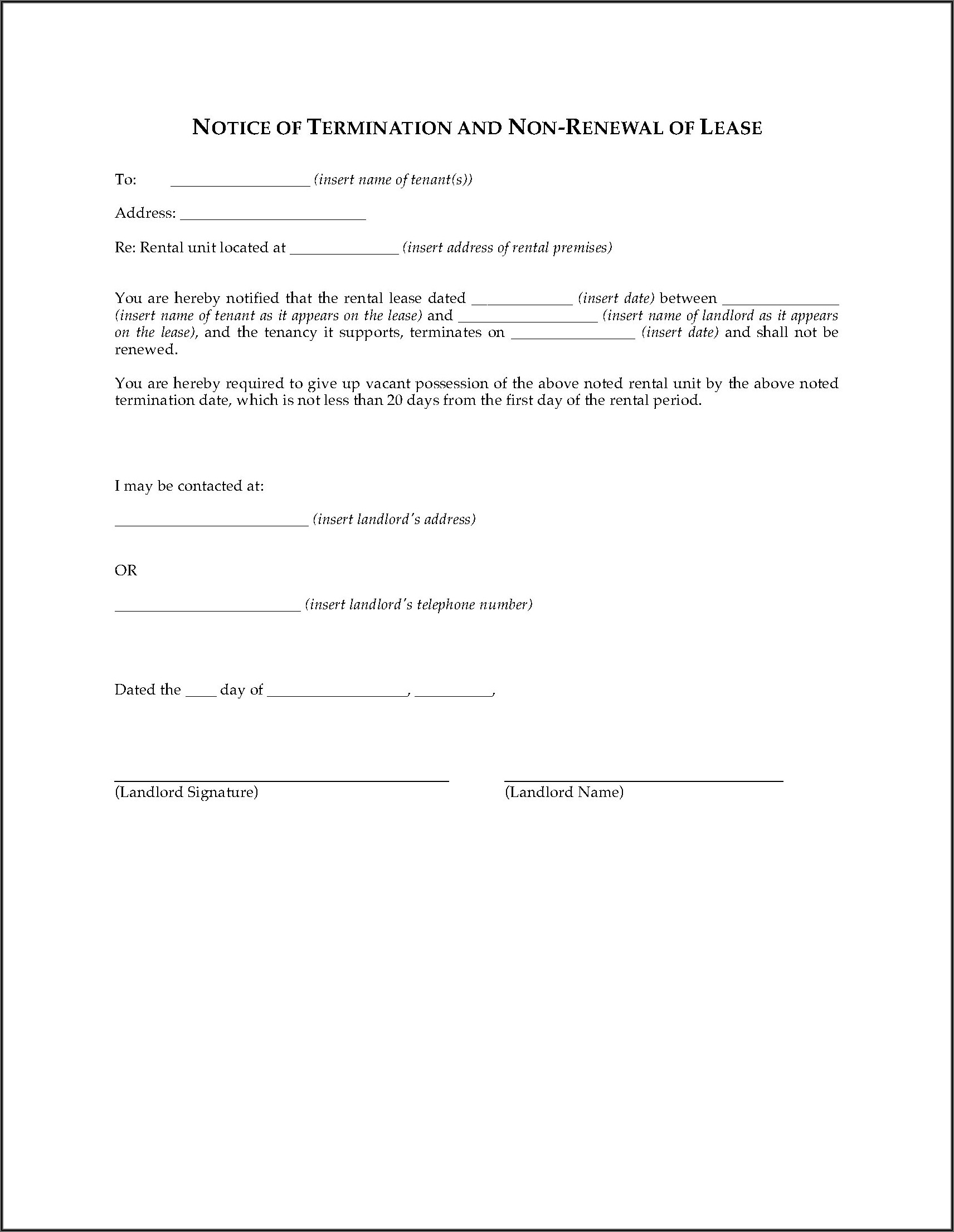Florida Non Renewal Of Lease Form