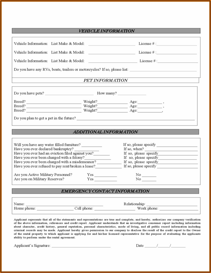 Florida Rental Application Form Free