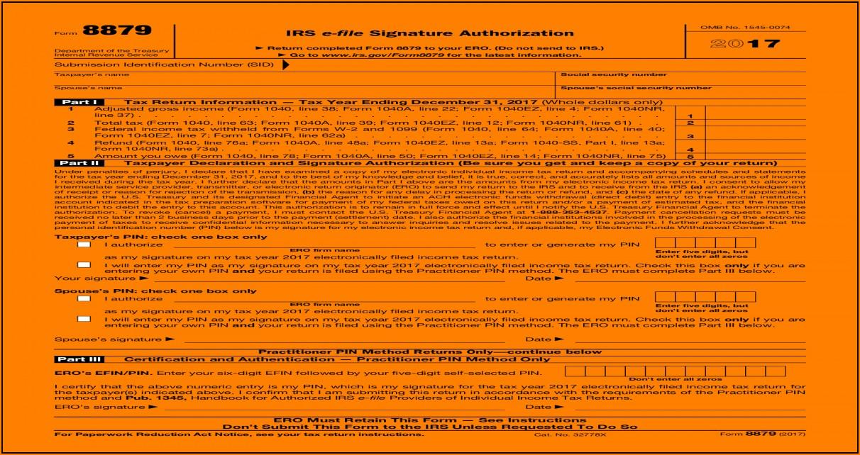 Form 8879 Irs E File Signature Authorization 2017