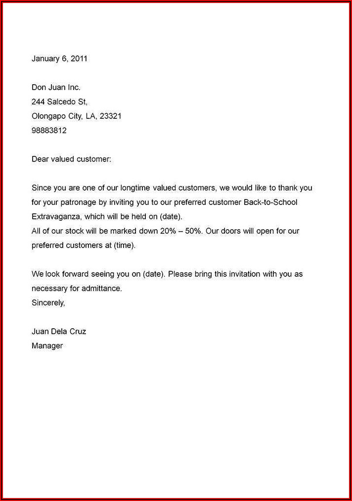 Formal Business Invitation Letter Template