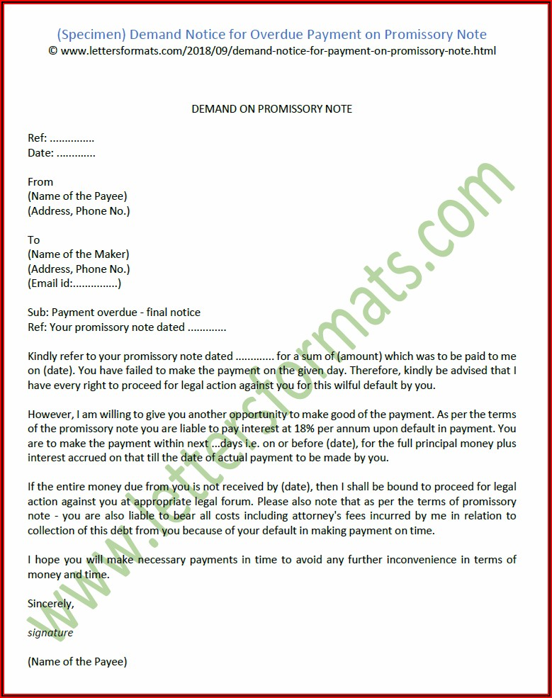 Format For Promissory Note