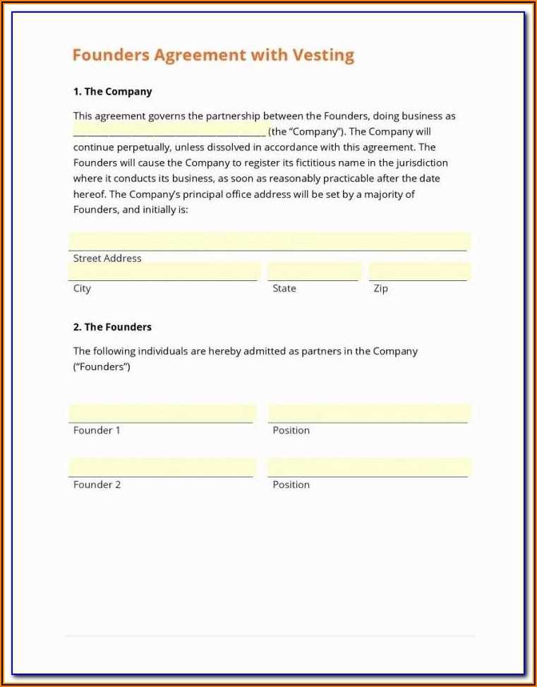 Founders Shareholder Agreement Template