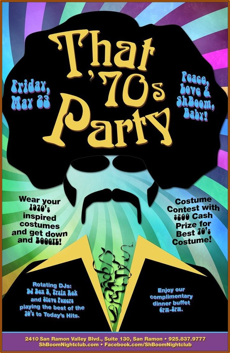 Free 70's Theme Party Invitations Templates