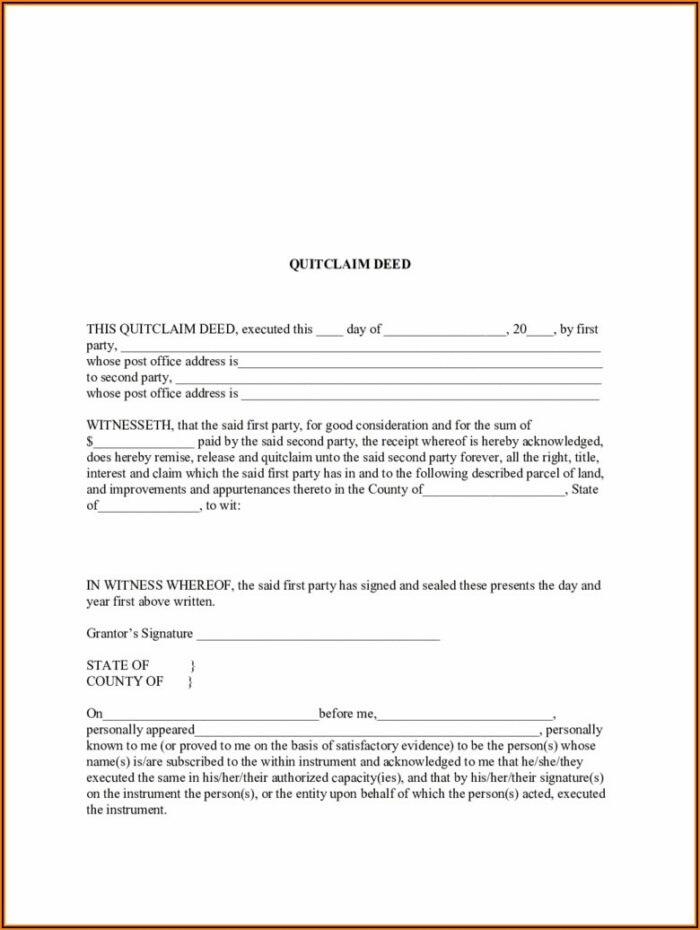Free Blank Quit Claim Deed Form North Carolina