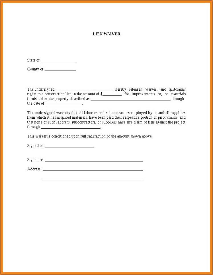 Free Construction Lien Release Form