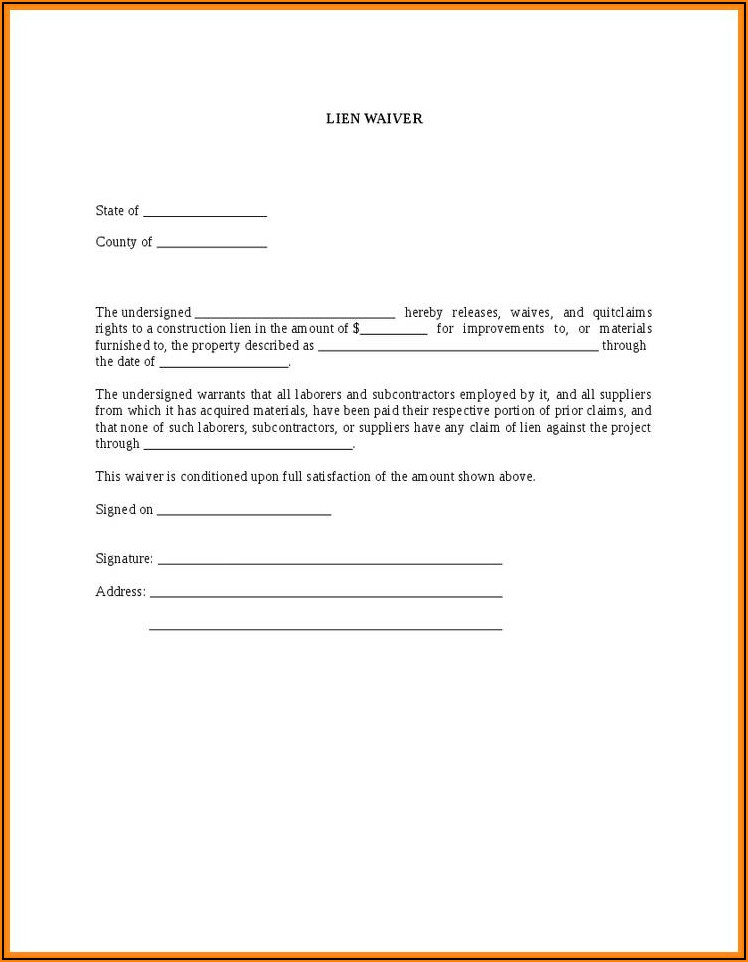 Free Construction Lien Waiver Form