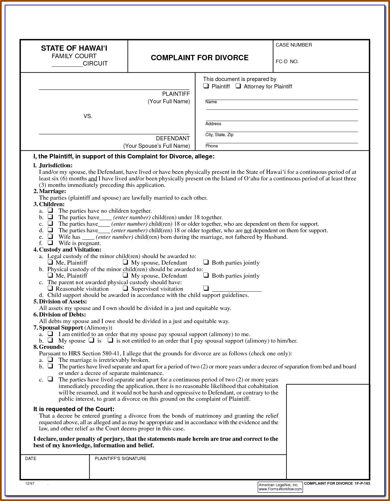 Free Divorce Forms Papers Ga