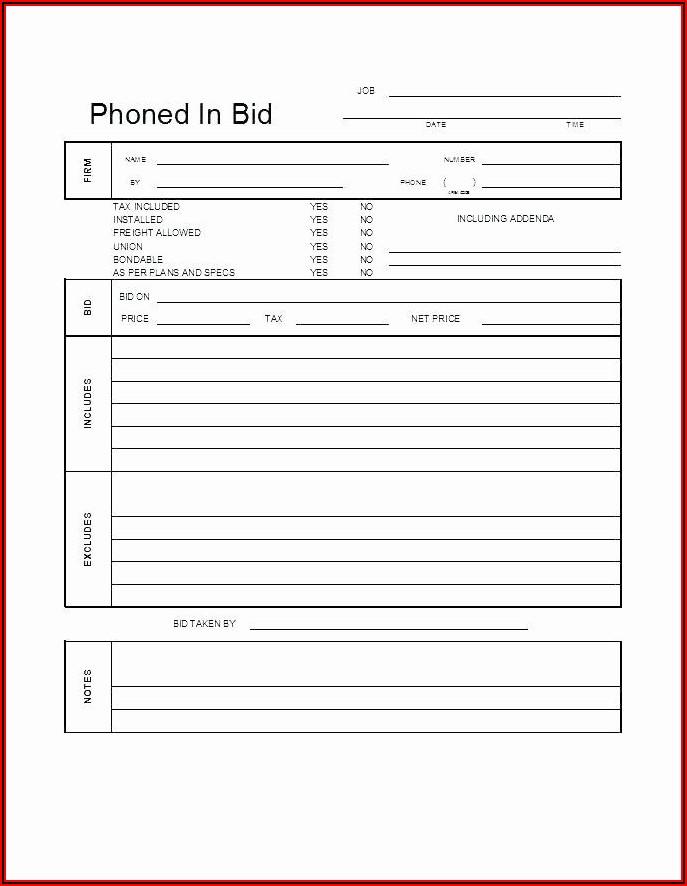 Free Excel Construction Bid Template