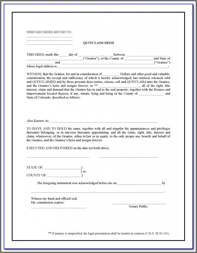 Free Florida Quit Claim Deed Form Template
