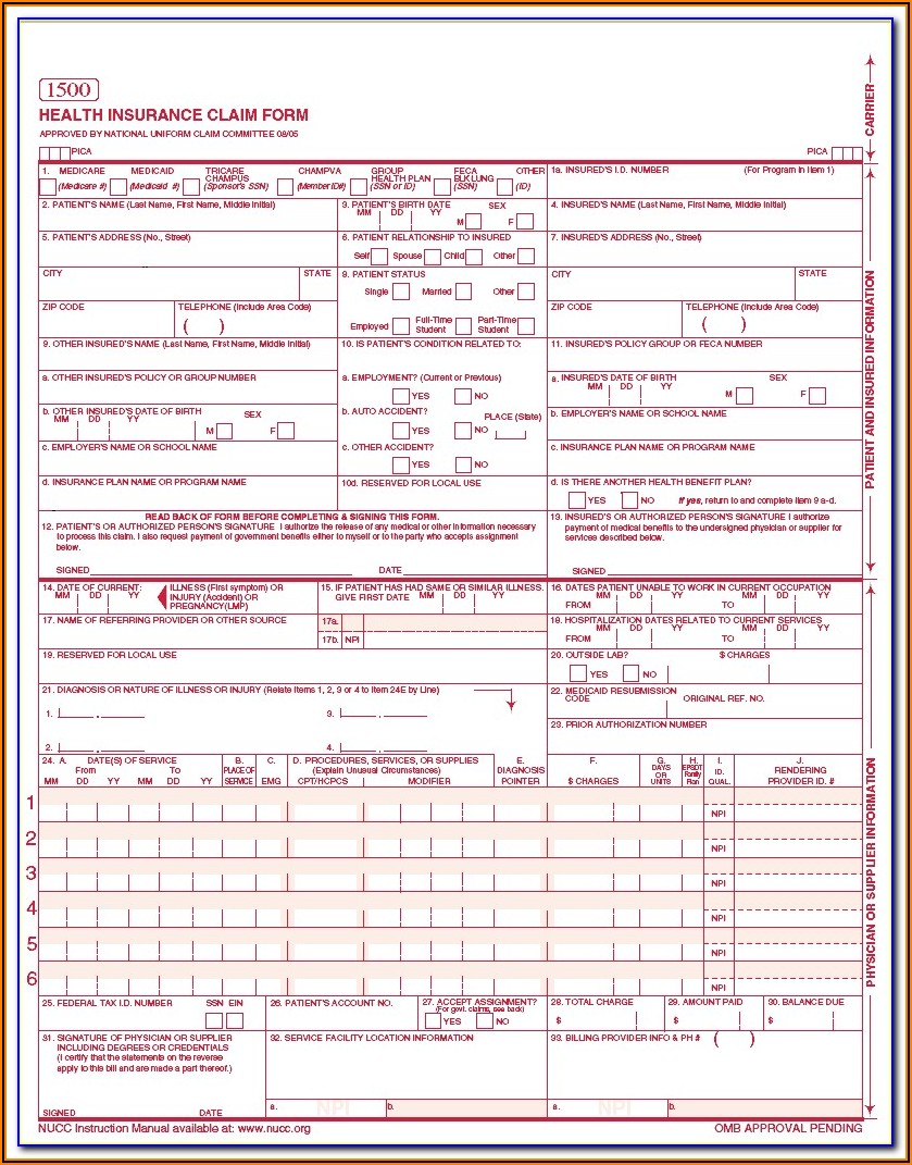Free Printable Cms 1500 Forms