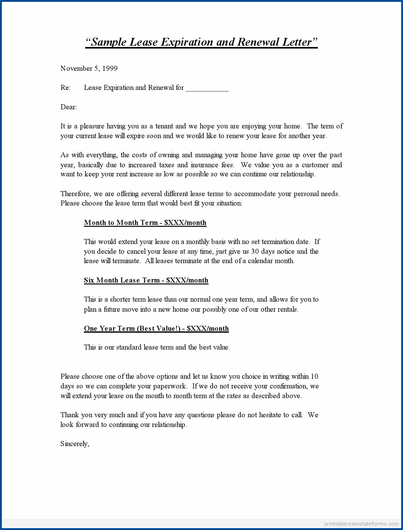 Free Printable Lease Renewal Form