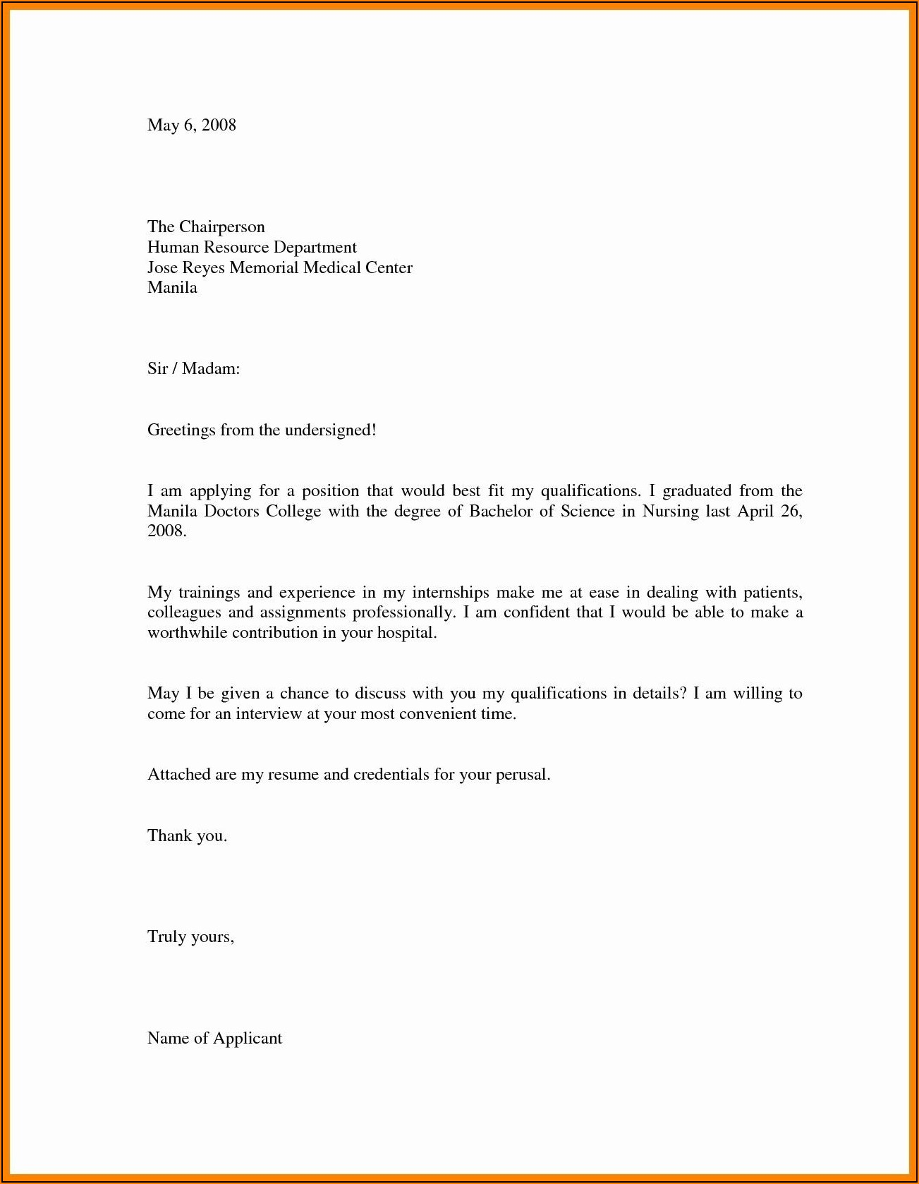 Free Sample Cover Letter For Job Application In Word Format