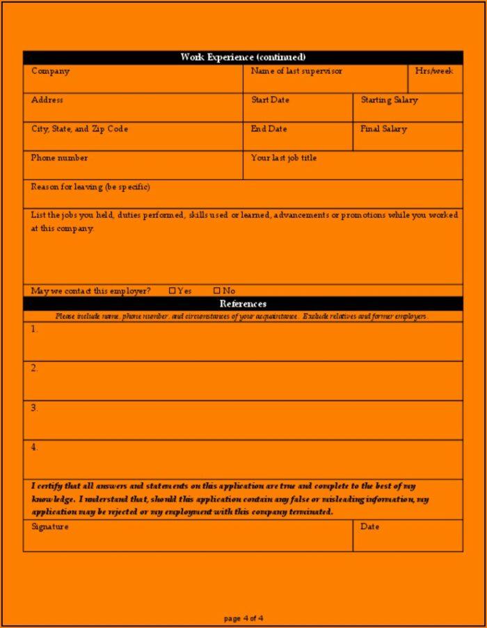 Free Sample Job Application Form