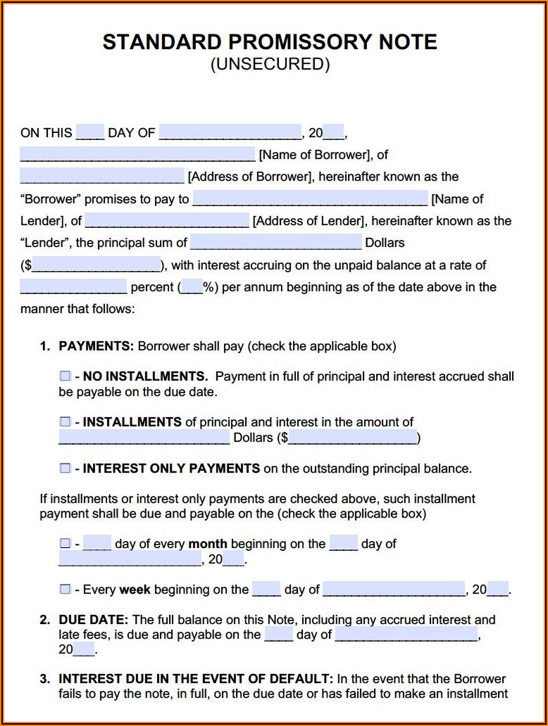 Free Simple Promissory Note Form