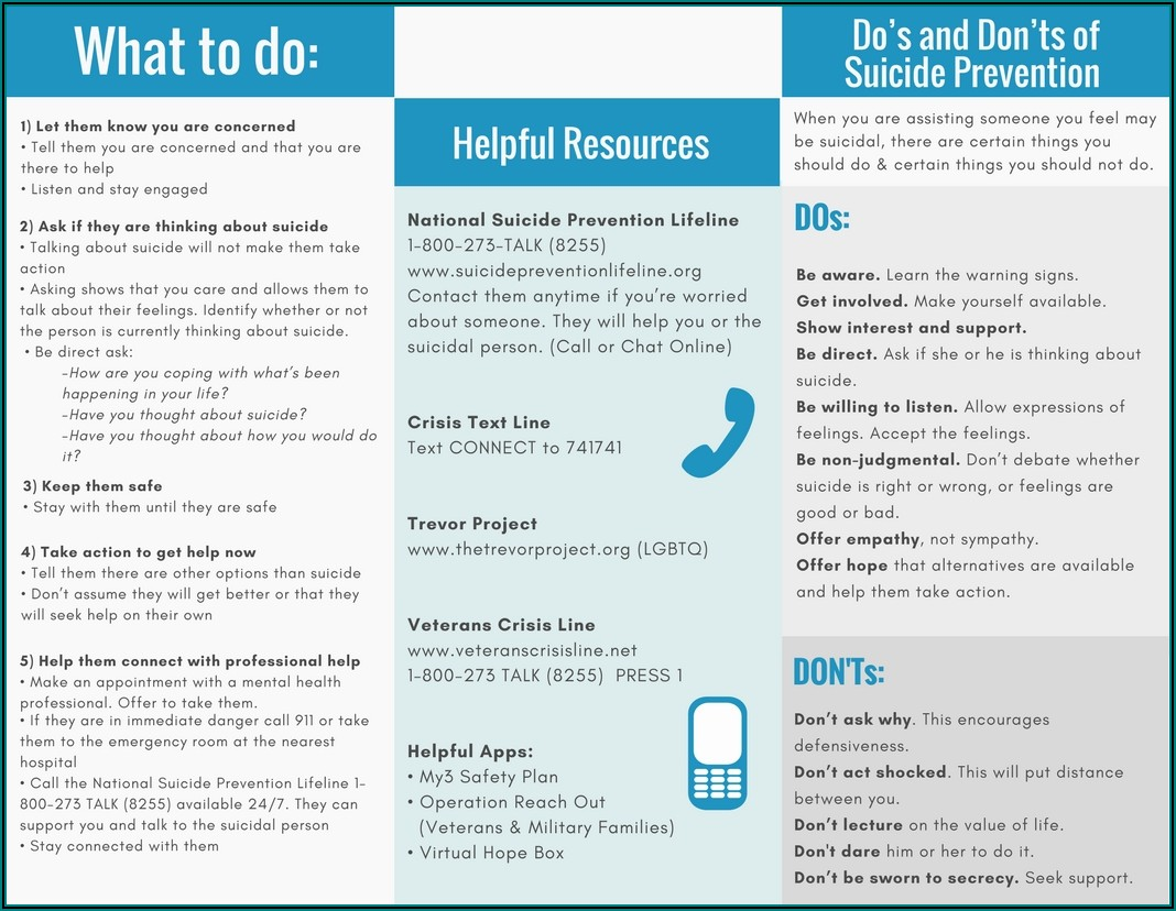 Free Suicide Prevention Handouts