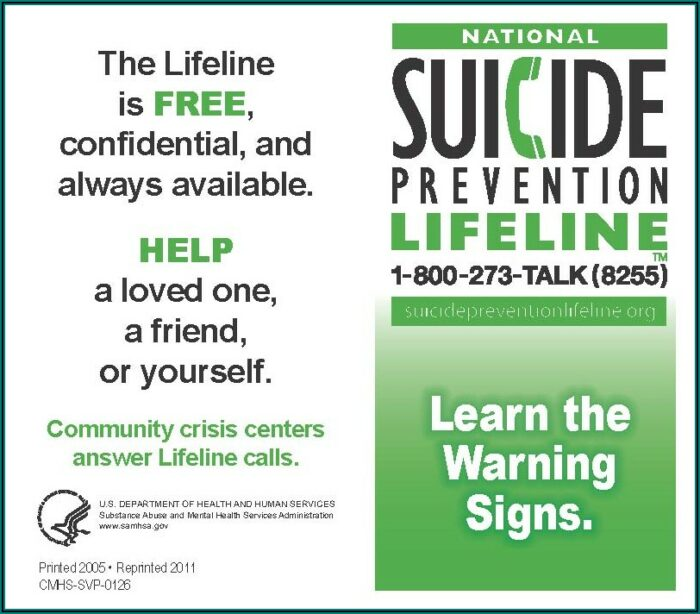 Free Suicide Prevention Pamphlets