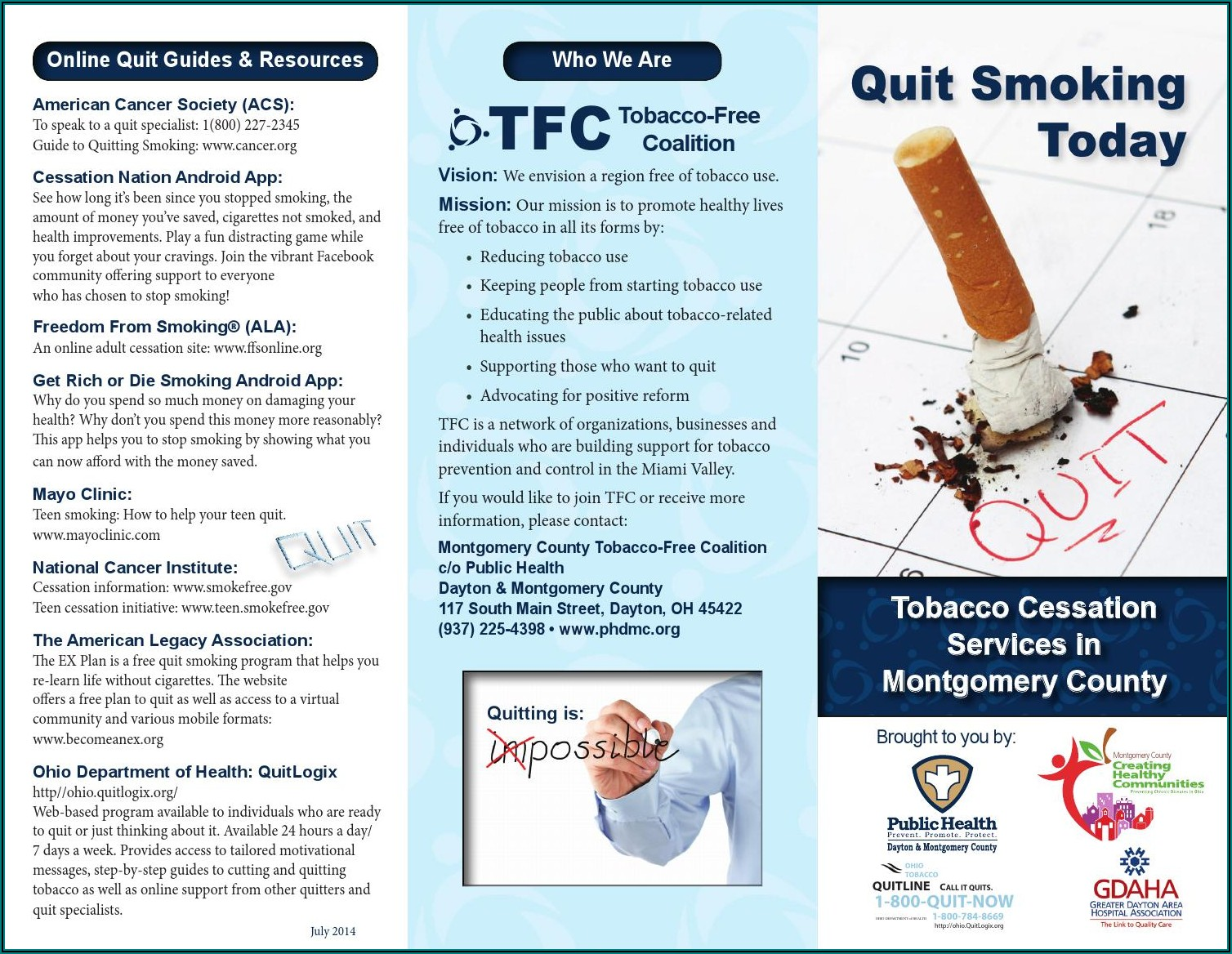Free Tobacco Cessation Brochures