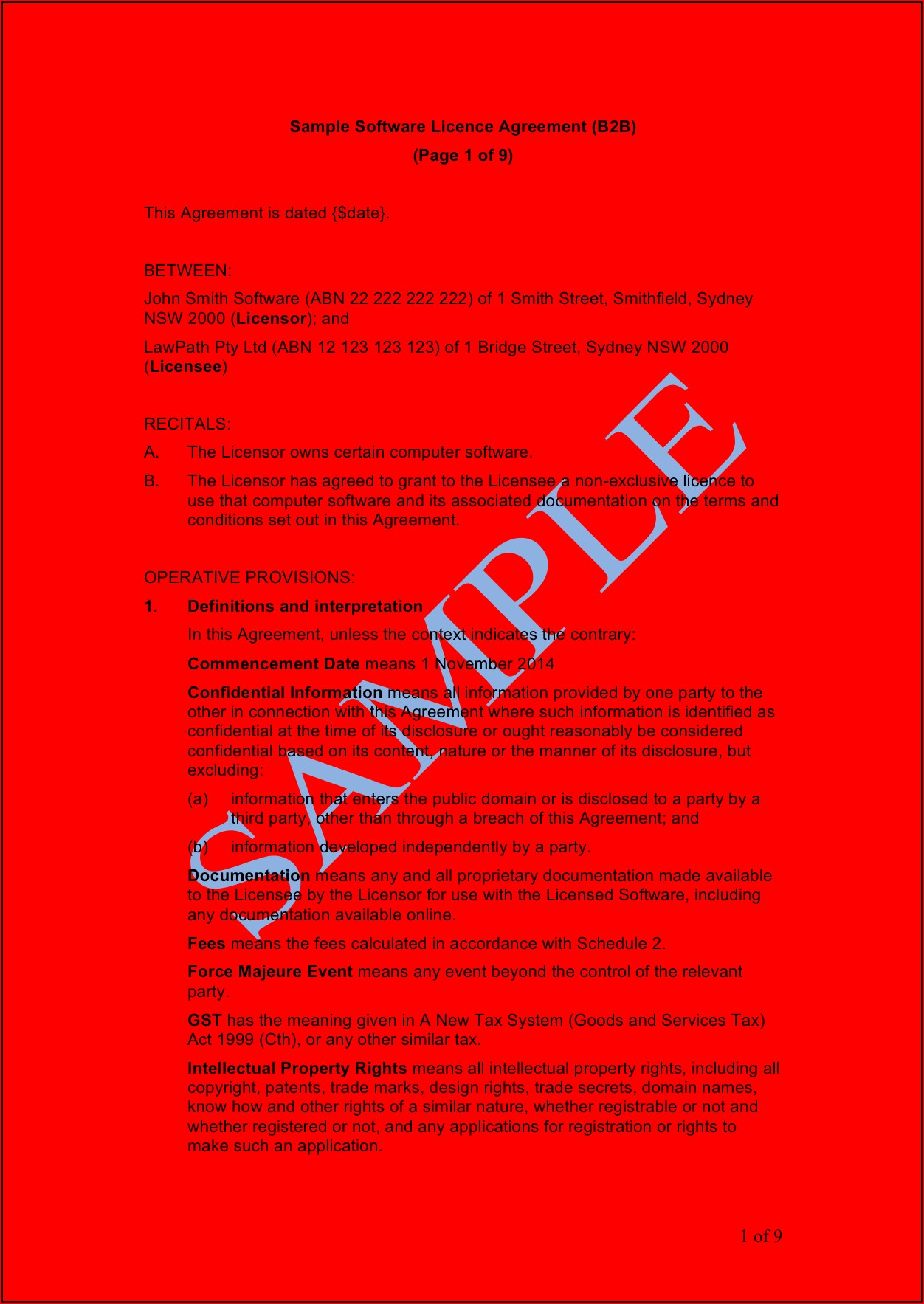 Free Trademark License Agreement Template