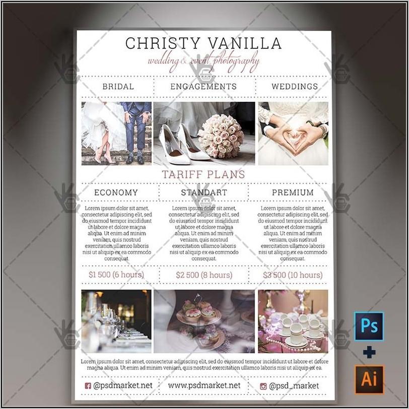 Free Wedding Photography Price List Template Psd