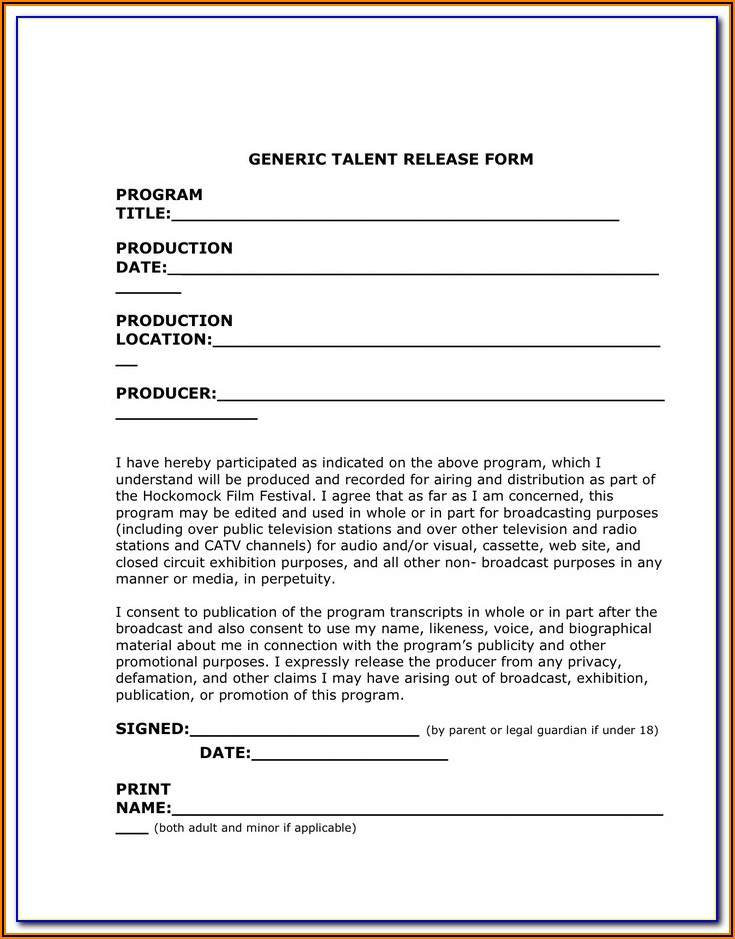 Generic Bounce House Waiver Form