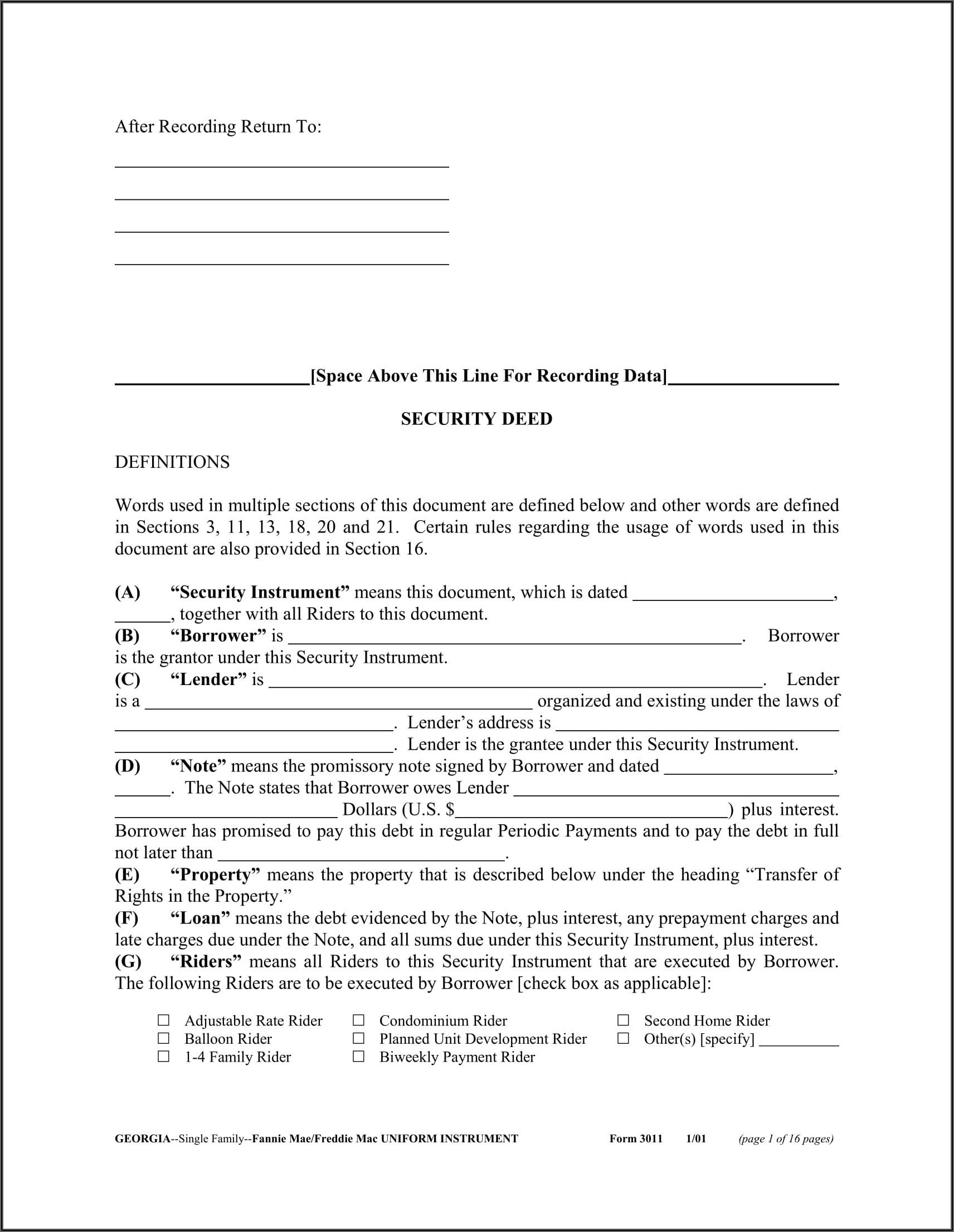 Georgia Executor's Deed Form