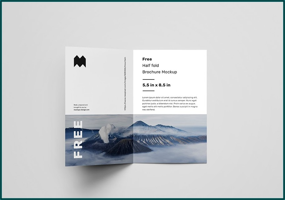 Half Fold Brochure Mockup Free Download