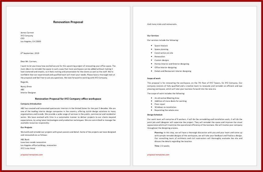 Home Improvement Proposal Sample