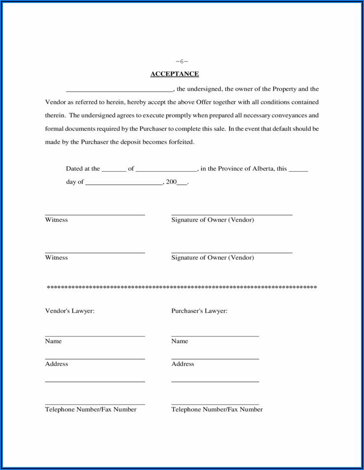 House Purchase Agreement Form Alberta