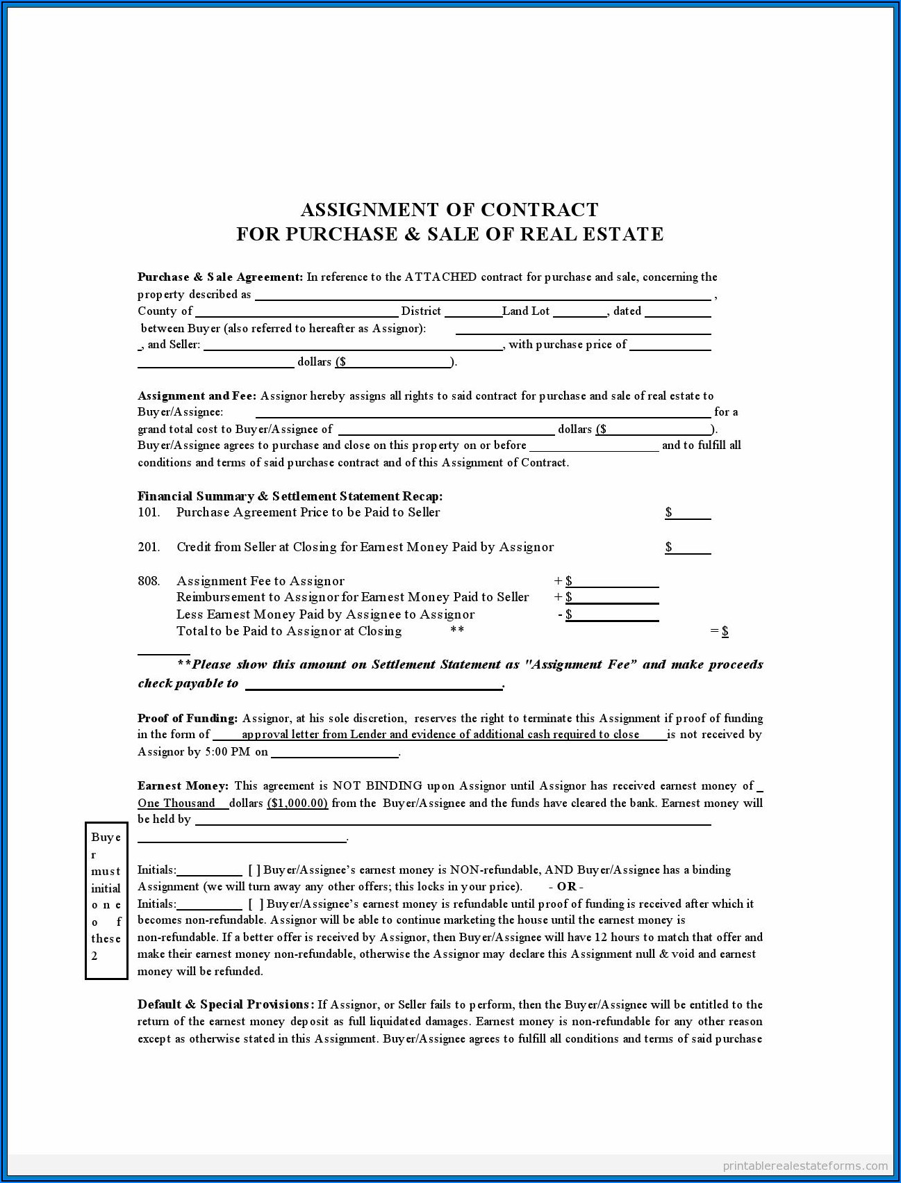 House Purchase Agreement Form Ontario