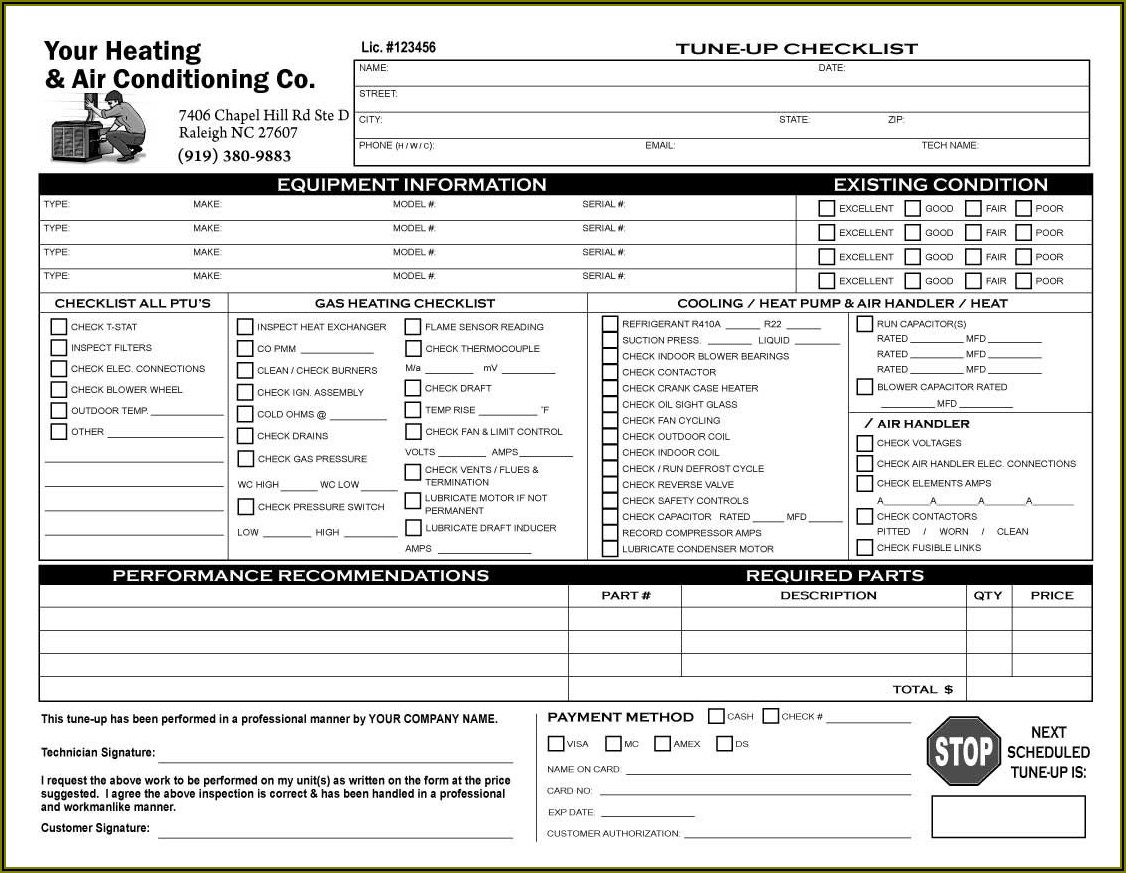 Hvac Service Checklist Form
