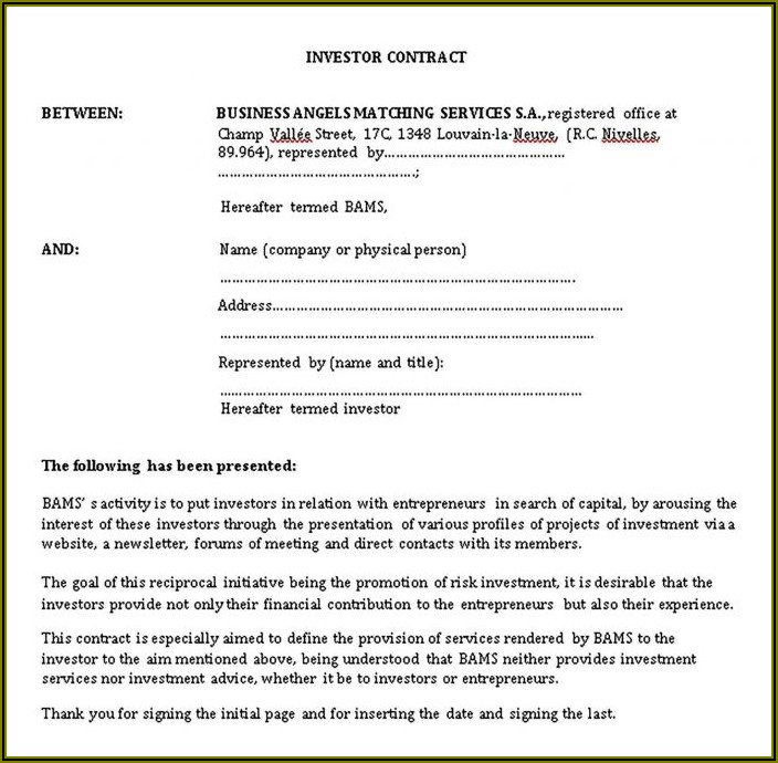 Investor Agreement Template Free