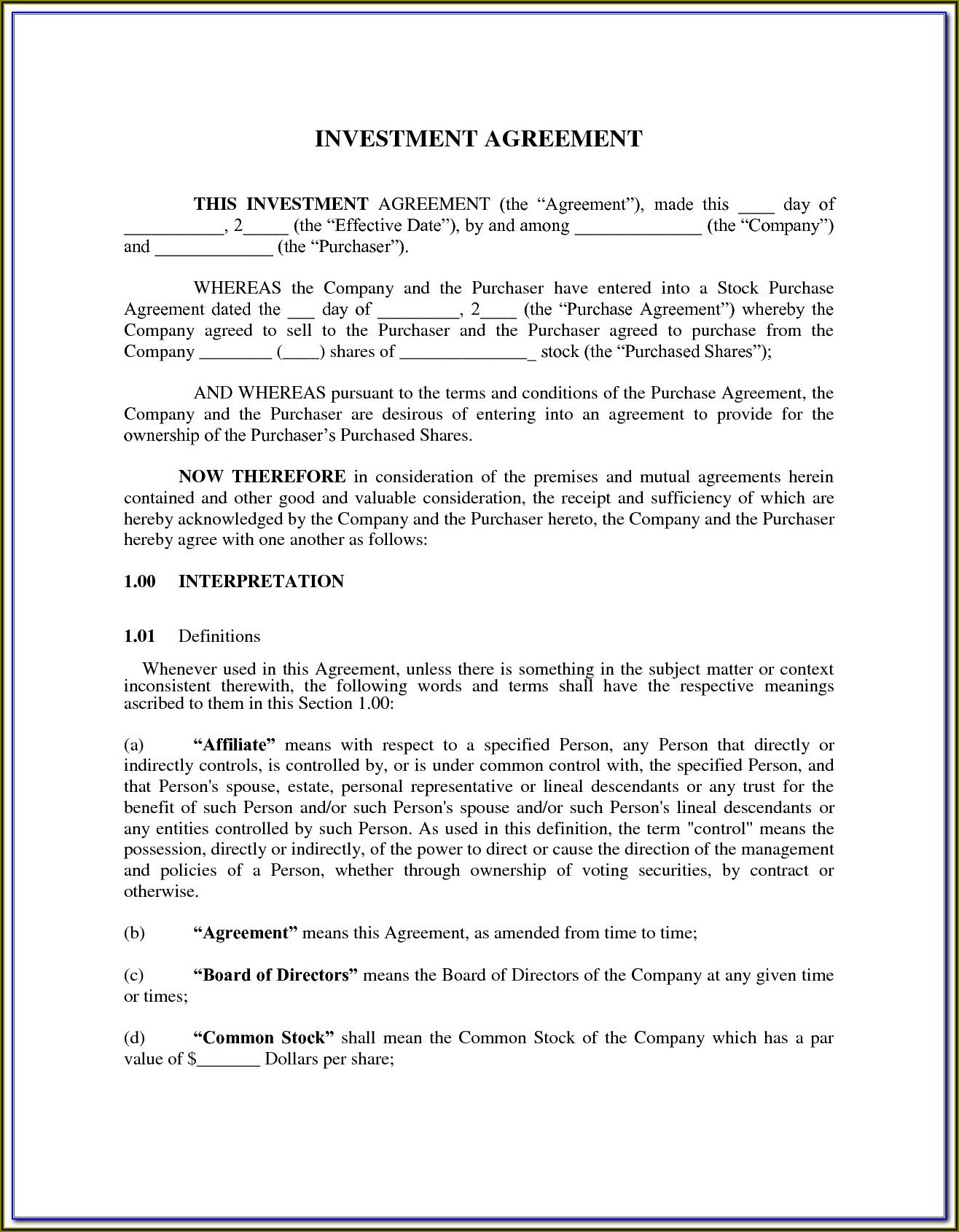 Investor Agreement Template South Africa