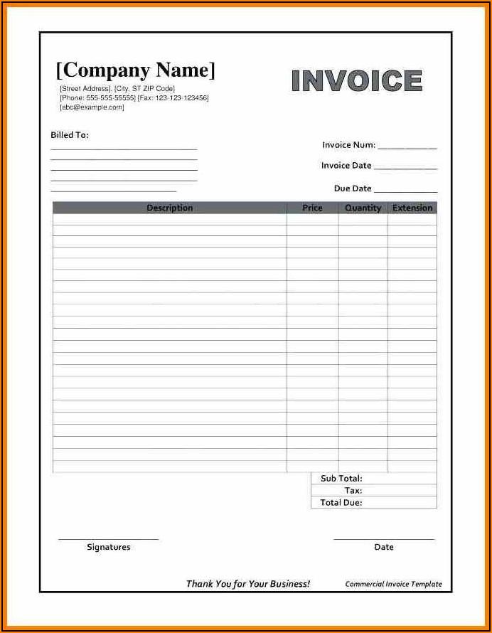 Invoice Blank Form