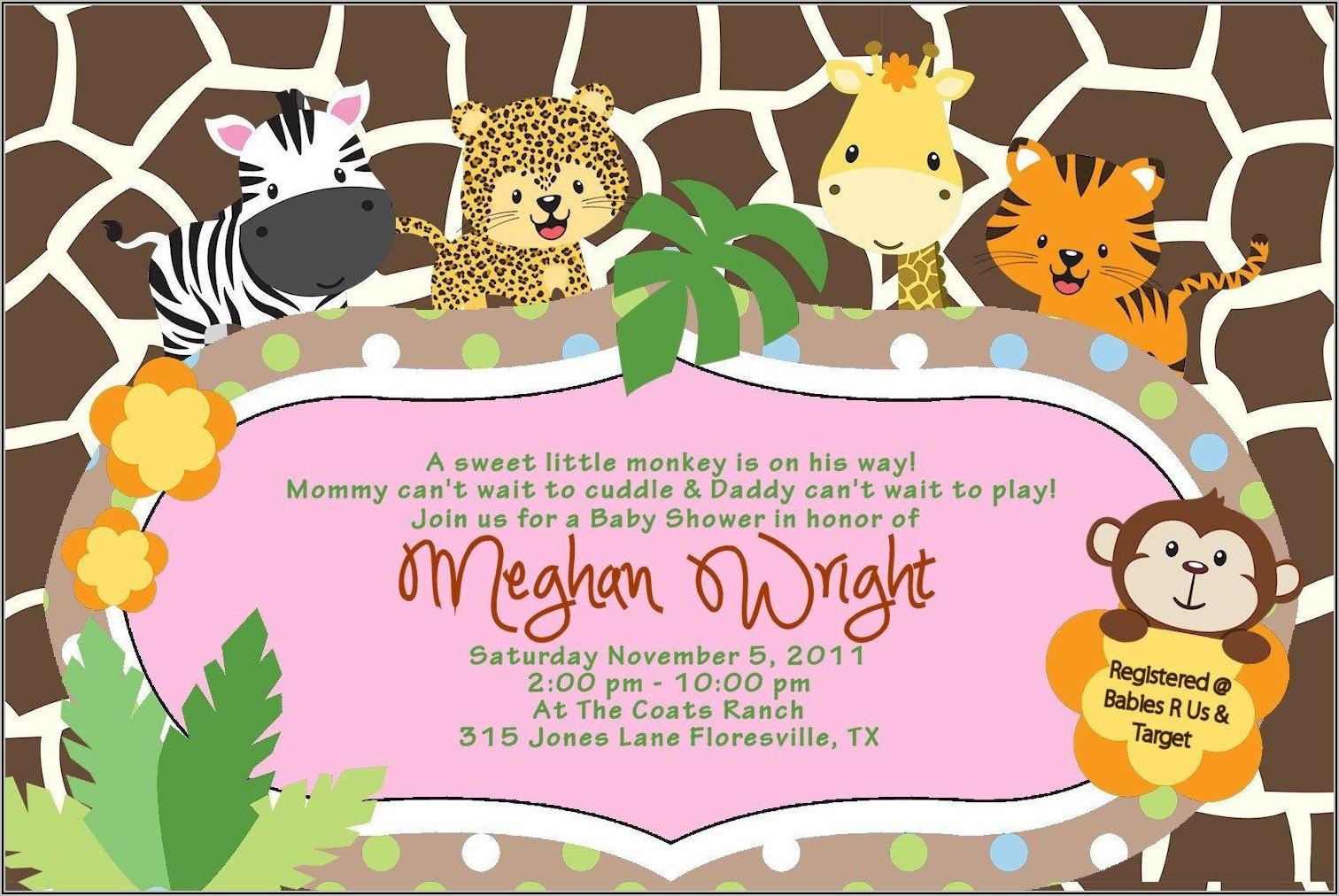Jungle Baby Shower Invitations Free Printable