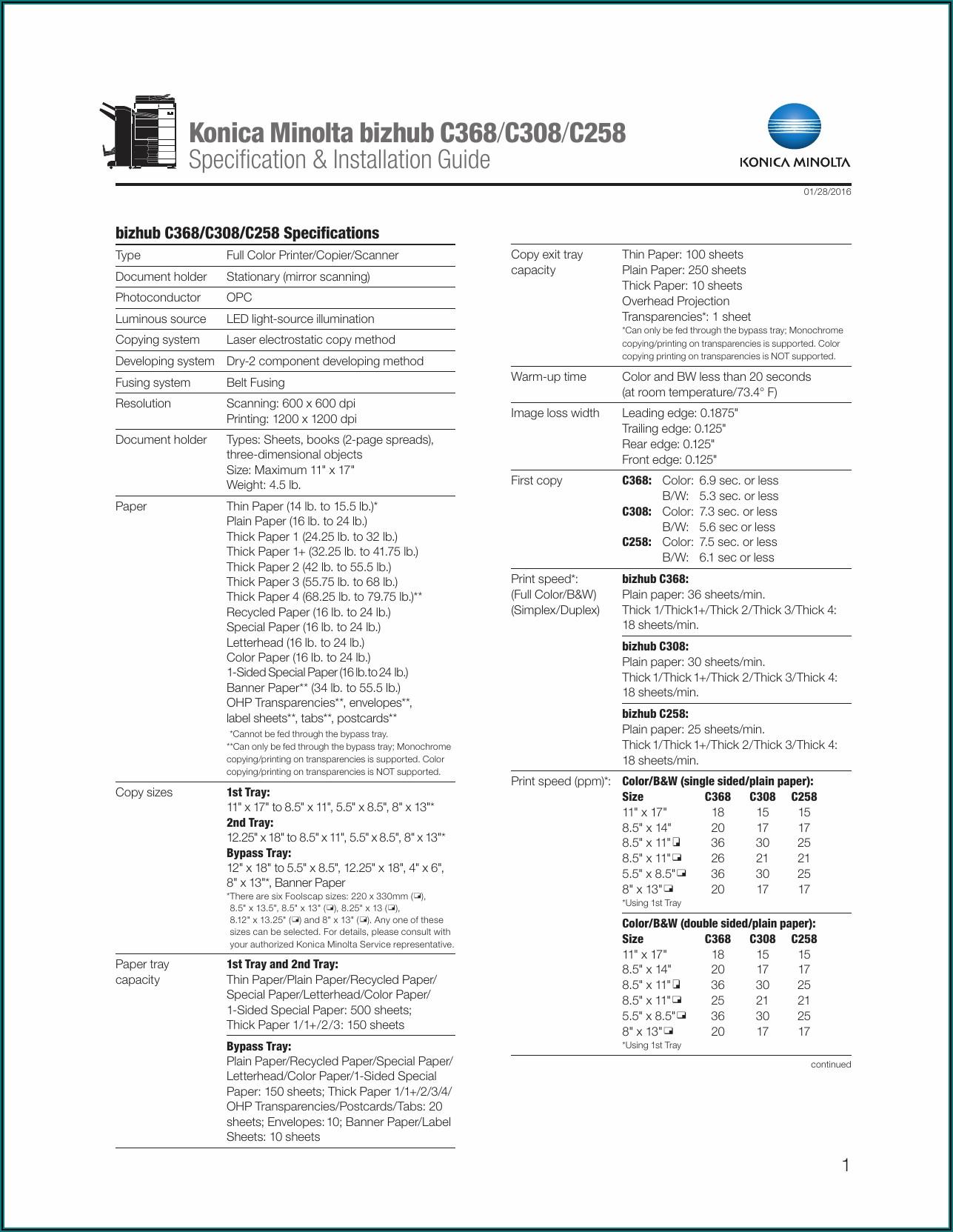 Konica Minolta Bizhub C258 Spec Sheet