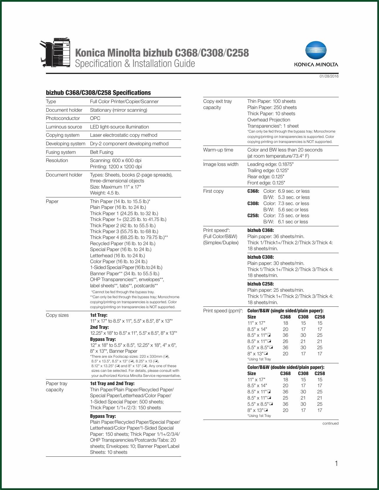 Konica Minolta Bizhub C258 Specifications