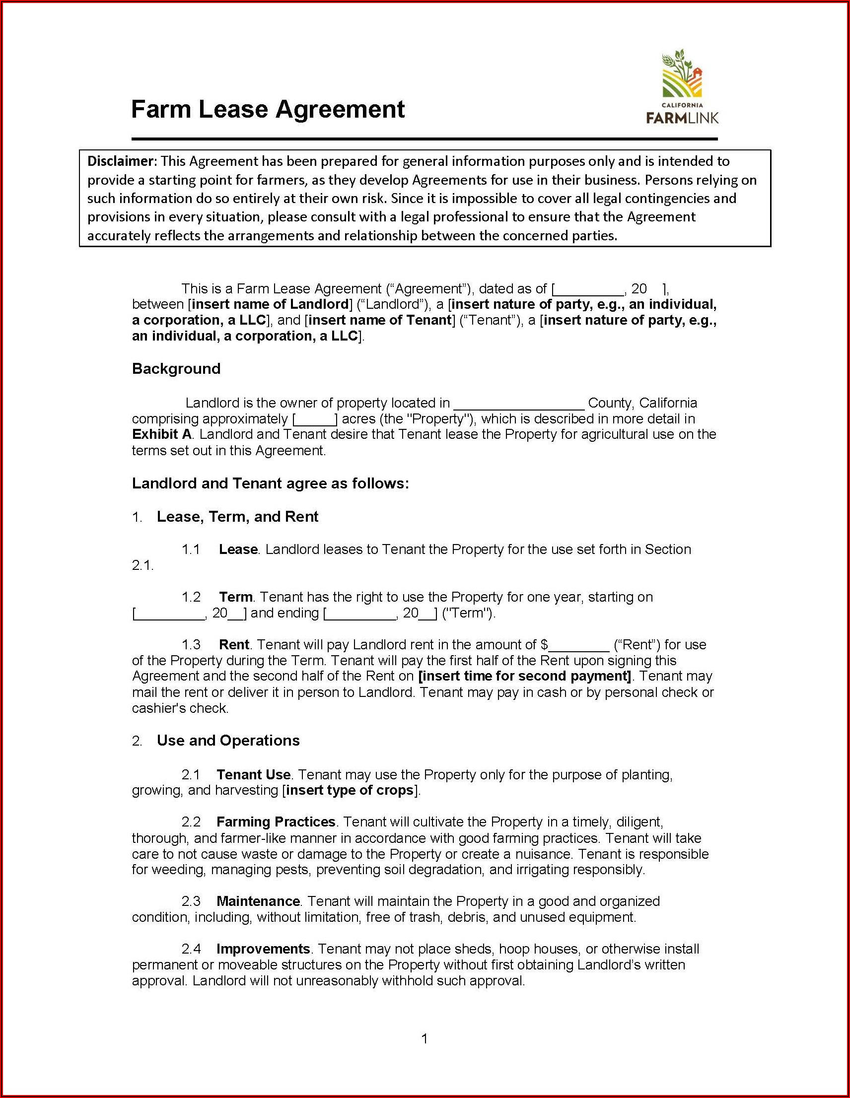 Land Lease Agreement Template