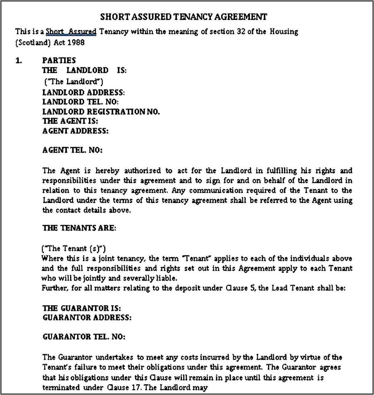 Landlord Tenancy Agreement Template