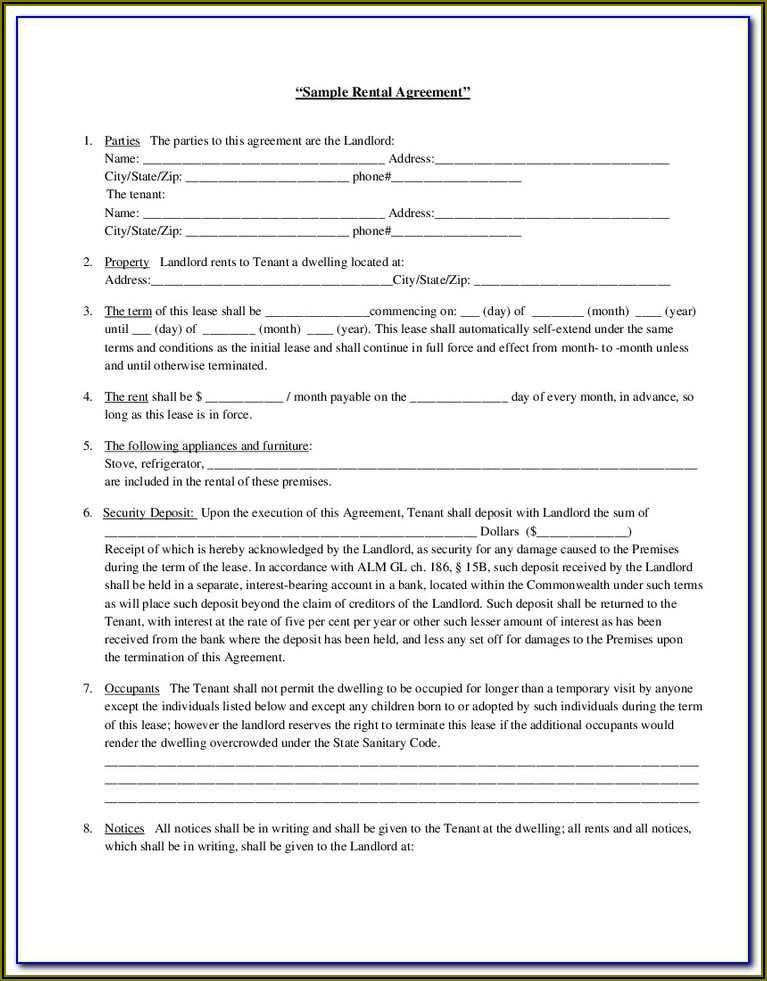 Landlord Tenant Rental Agreement Form Bc