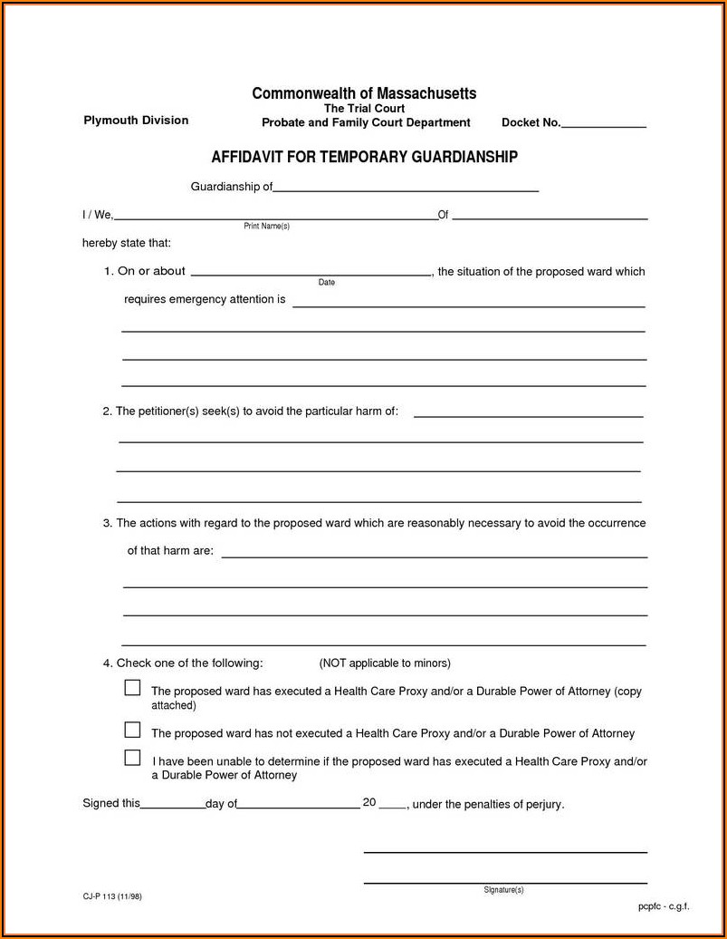 Legal Guardianship Forms In Texas