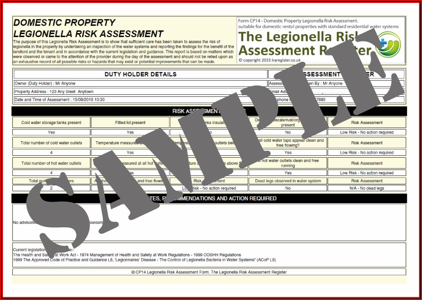 Legionella Risk Assessment Template
