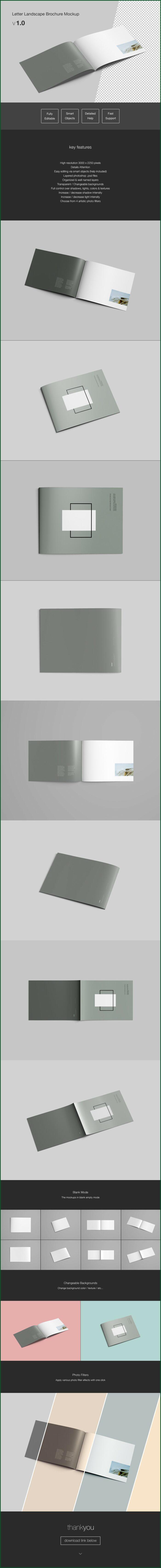 Letter Landscape Brochure Mockup Free