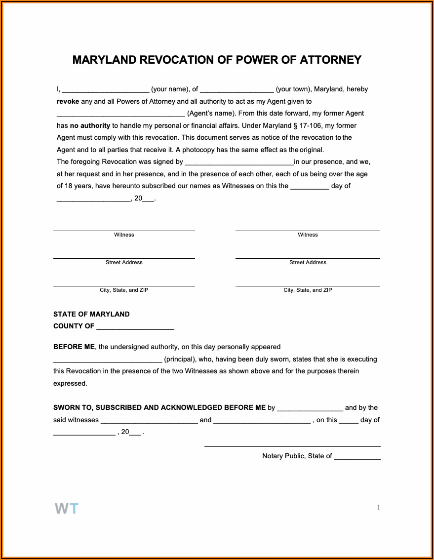 Maryland General Durable Power Of Attorney Form