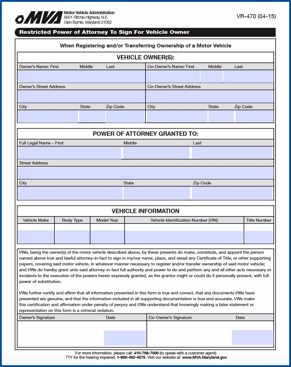 Maryland State Power Of Attorney Forms