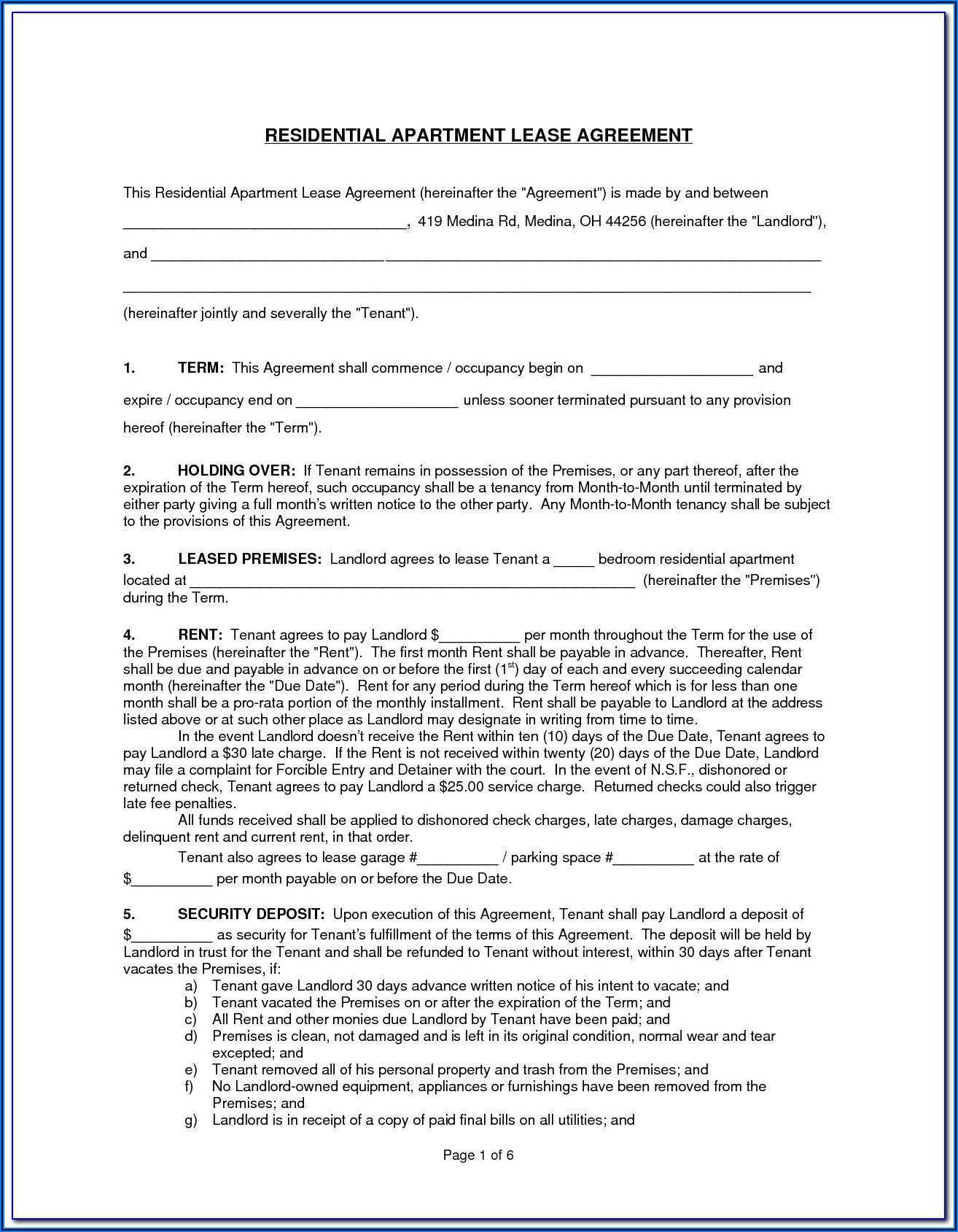 Massachusetts Standard Apartment Lease Form